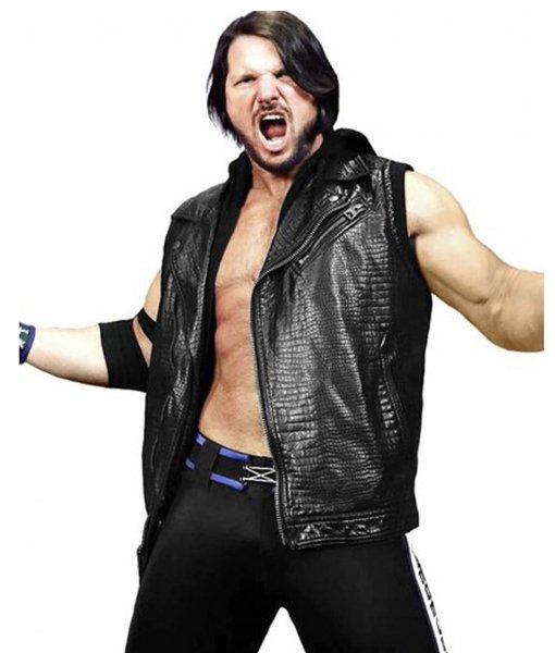 c391c8f23 AJ Styles WWE Leather Vest with Hoodie