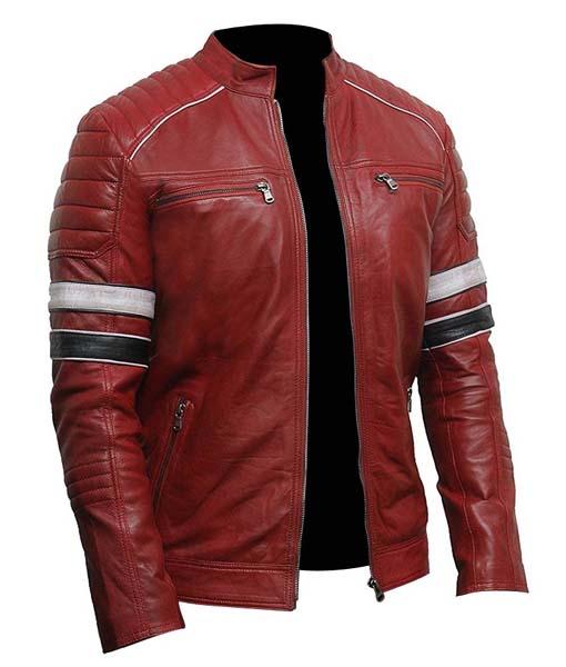 World of Leather Mens Black /& Red Stripe Biker Leather Jacket
