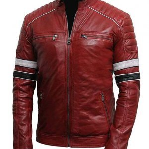 Mens-Striped-Red-Café-Racer-Leather-Jacket