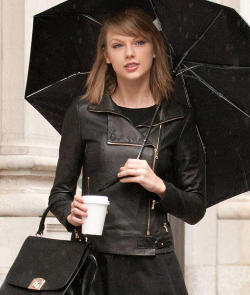 Motorcycle Black Leather Taylor Swift Jacket For Womens