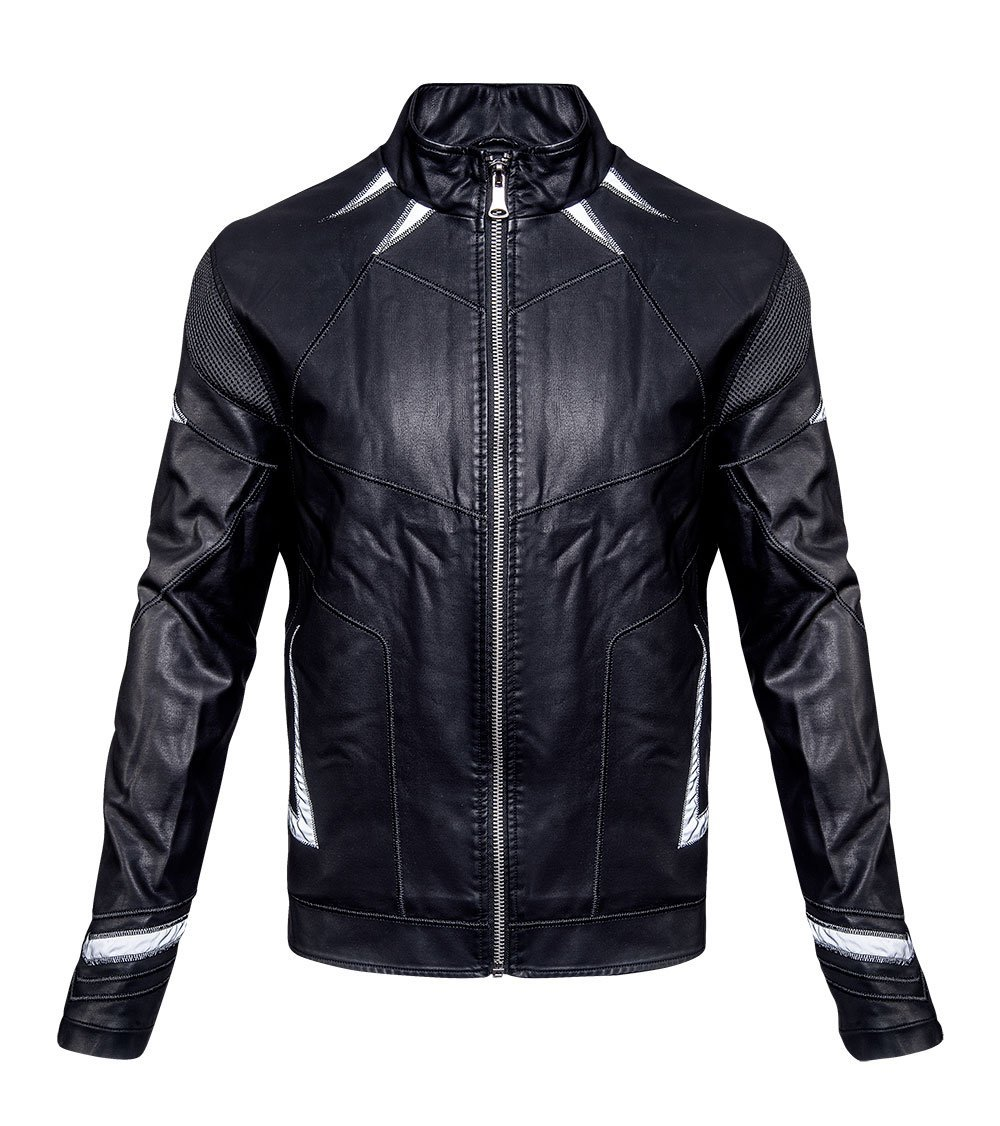 website for discount aliexpress shop for luxury Black Panther Chadwick Boseman Leather Jacket