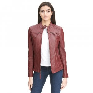 red biker jacket womens