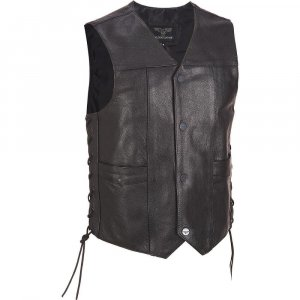 Lace-Up Motorcycle Leather Vest