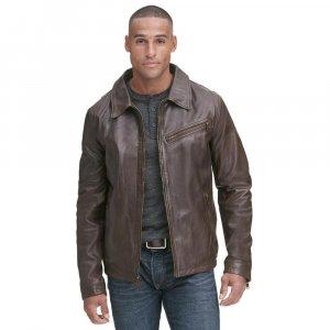 Vintage Shirt Collar Leather Jacket