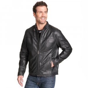 mens Buckled Collar Leather Jacket