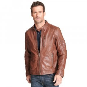 Mens Brown Moto Leather Jacket