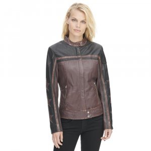 Vintage Moto Leather Jacket For Womens