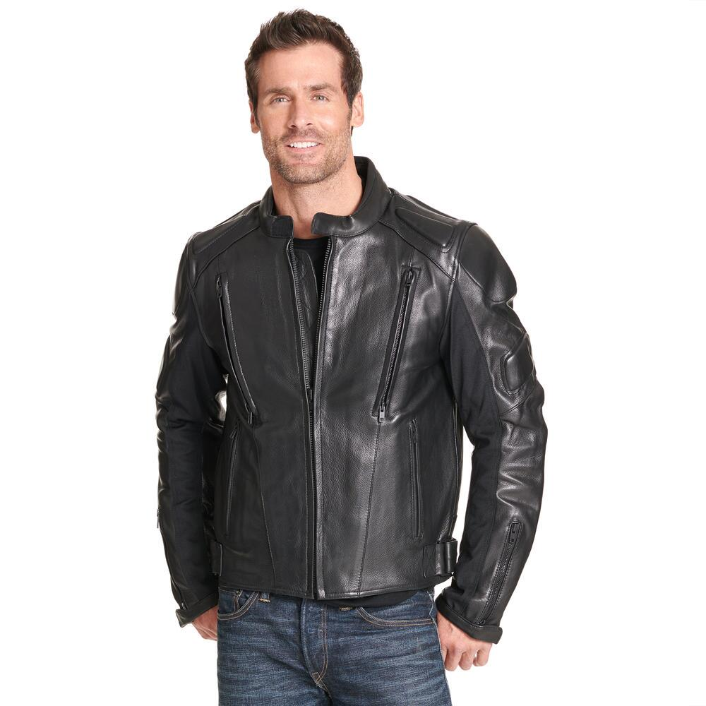 Mens Padded Leather Motorcycle Jacket