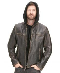 Vintage Moto Leather Jacket with Hood