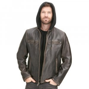 Vintage Moto Leather Jacket with Hood