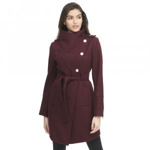 Womens Asymmetrical Belted Coat