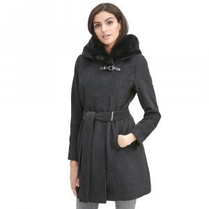 Women WOOL Grey Belted COAT