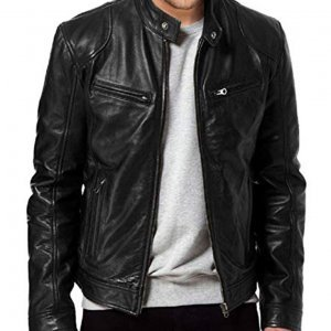 Chris Evans Black Biker Leather Jacket