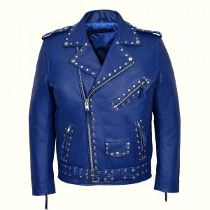 Womens Blue Studded Motorcycle Jacket