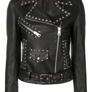 Women's Black Leather Silver Studded Jacket