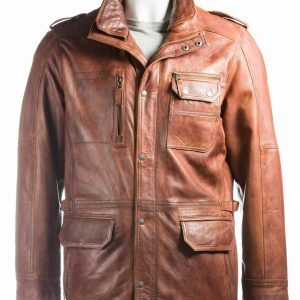 Mens Tan Double Collared Coat
