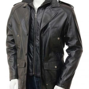 Mens Leather Black Peacoat