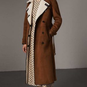 Double Breasted Brown Suede Womens Coat