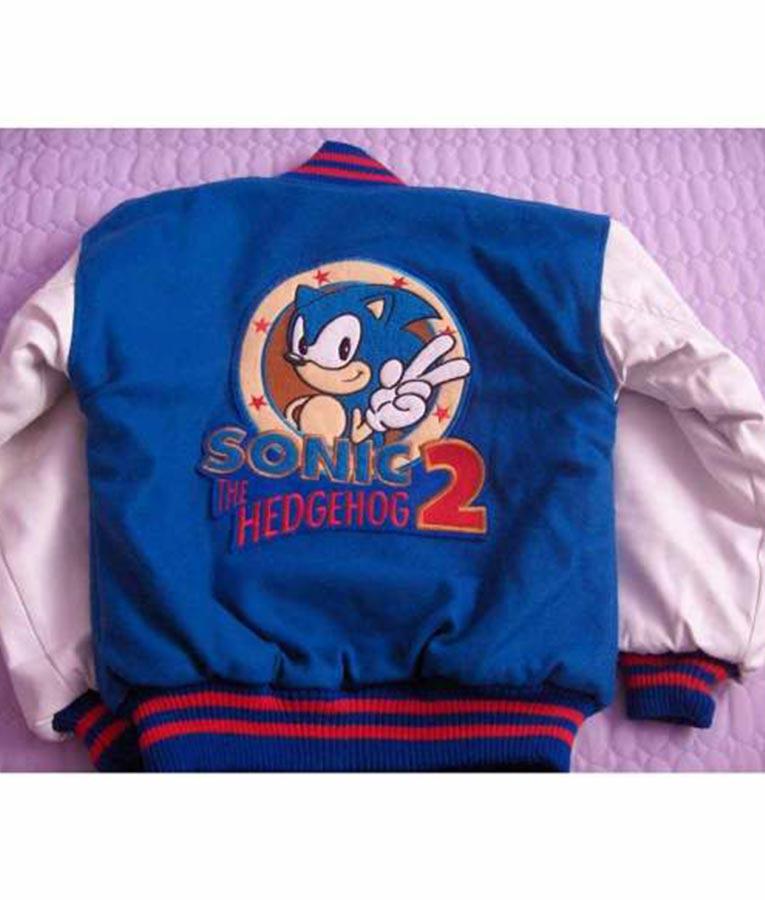 Sonic Bomber Jacket Blue And White Hleatherjackets
