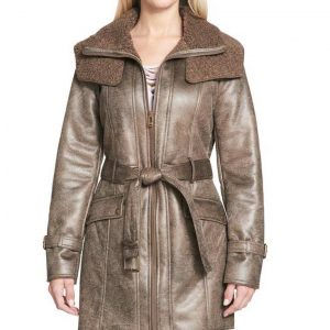 Womens Duster Shearling Mid-Length Coat