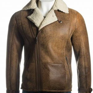Mens Shearling Sheepskin Biker Jacket