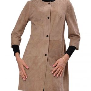 Womens Suede Leather Coat