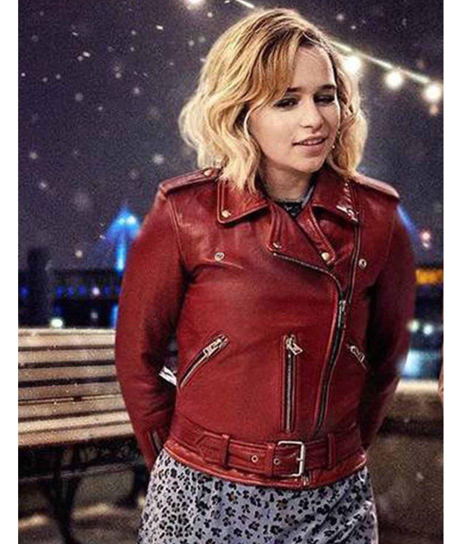 last christmas kate jacket  emilia clarke red leather jacket