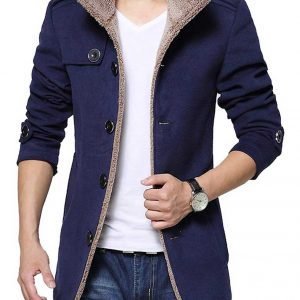 Mens Blue Shearling Wool Jacket