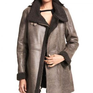 Womens Asymmetrical Faux Shearling Coat
