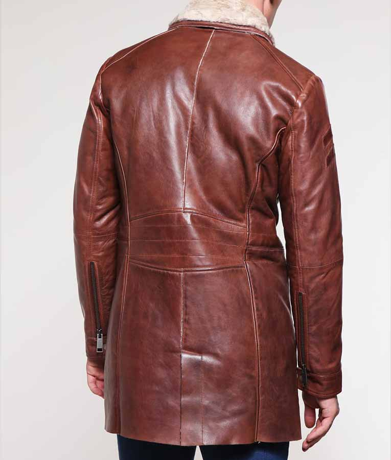 reasonable price browse latest collections brand new Mens Brown Mid-Length Shearling Coat