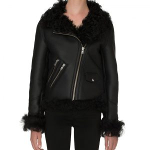 Womens Biker Shearling Jacket