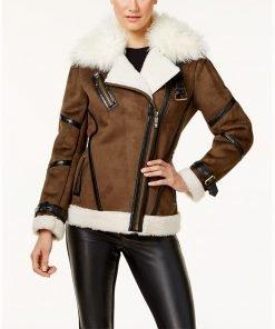 Asymmetrical Faux Leather Shearling Jacket