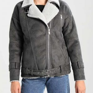 Womens Faux Shearling Grey Motorcycle Jacket