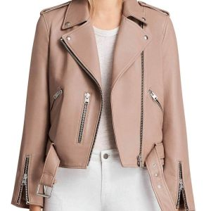 thea queen pink leather jacket