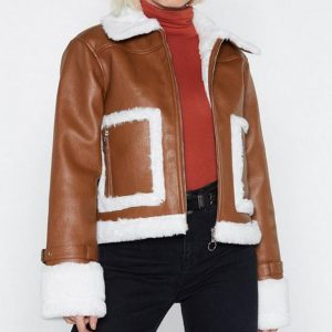 Brown Cropped Aviator Jacket