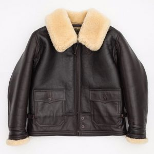 Brown Cropped Aviator Jacket