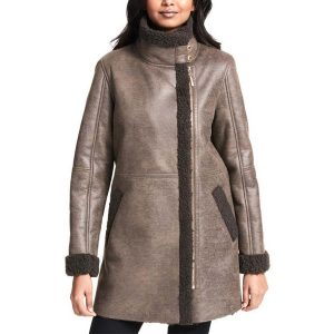 Asymmetrical Zip Faux shearling Coat