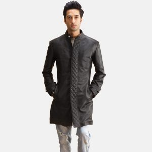 Mens Quilted Black Coat