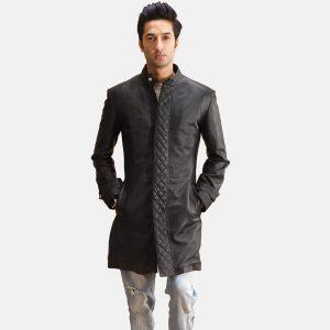 Mens Quilted Black Coat