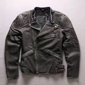 Mens Skull Distressed Biker Jacket