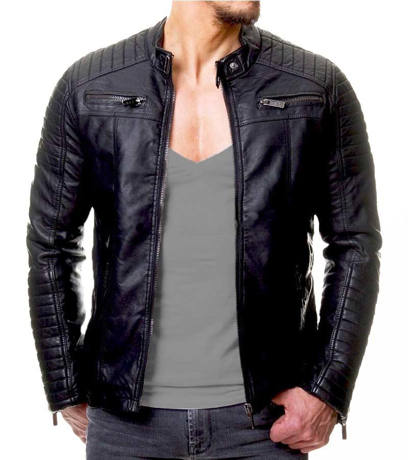 Women/'s Leather Jacket Biker Motorcycle Slim Fit Vintage Black Protector