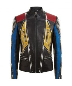 Mens Multicolor Studded Slimfit Jacket