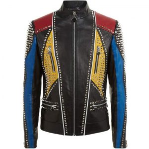 Mens Multicolor Studded Slimfit Jacket