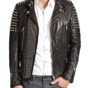 Womens Black Gold Studded Biker Leather Jacket