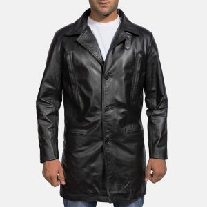 Mens Black Leather Coat