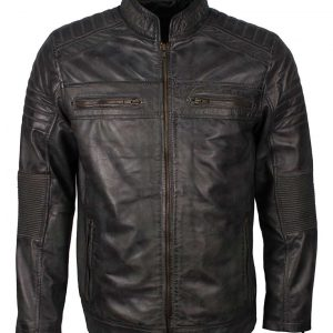 Grey Waxed Cafe Racer Jacket