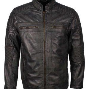 Grey Waxed Cafe Racer Jacket