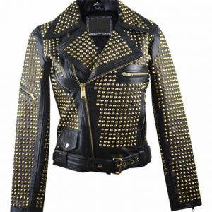 Full Golden Studded Biker Jacket
