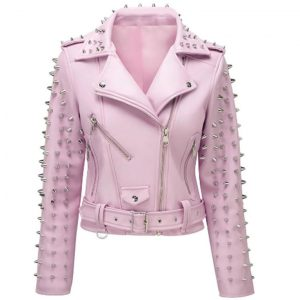 Soft Pink Studded Leather Biker Jacket