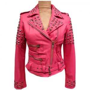 Pink Belted Golden Studded Jacket